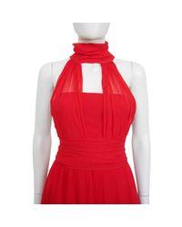 Nina Ricci Red Seide Midi Kleid
