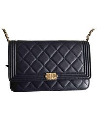 Chanel Blue Wallet On Chain Leather Crossbody Bag