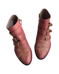 Botas en cuero rosa Susanna Chloé de color Pink