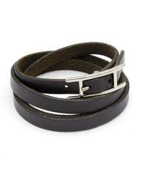 Pulsera en cuero negro Hapi Hermès de color Black