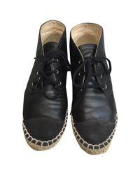 Chanel Black Leather Espadrilles