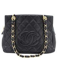 Chanel Black Petite Shopping Tote Leder Handtaschen