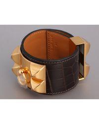 Pulsera en cueros exóticos marrón Collier de chien Hermès de color Brown
