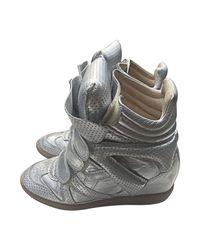 Baskets cuir argent Isabel Marant en coloris Metallic