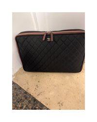 Porte documents, serviette tissu noir Chanel en coloris Black