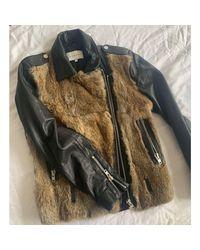Blouson en cuir cuir noir Sandro en coloris Black
