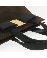 Sac à main en tissu daim marron Ferragamo en coloris Brown