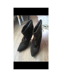 Bottines & low boots à talons nubuck kaki Isabel Marant en coloris Black