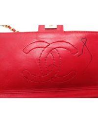 Sac en bandoulière en cuir cuir rouge Chanel en coloris Red