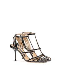 Sandales plates cuir noir Sergio Rossi en coloris Black