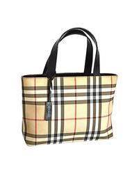 Sac à main en cuir toile tartan multicolore Burberry