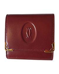 Porte-monnaie cuir rouge Cartier en coloris Red