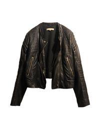 Veste en cuir cuir noir Sandro en coloris Black