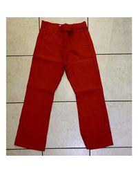 Pantalon droit coton rouge Sandro en coloris Red