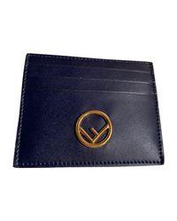 Porte-cartes cuir bleu Fendi en coloris Blue