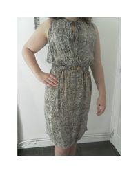 Robe courte soie animalier Gerard Darel en coloris Gray