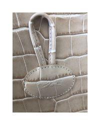 Sac à main en cuir cuir Roseau blanc Longchamp en coloris White