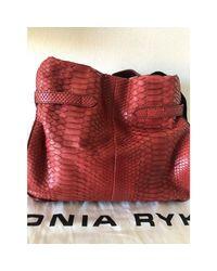 Sac à main en cuir python orange Sonia Rykiel