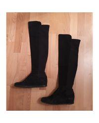 Bottes cuissards daim noir Stuart Weitzman en coloris Black
