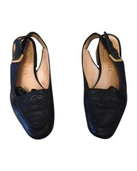 Ballerines cuir bleu Chanel en coloris Blue