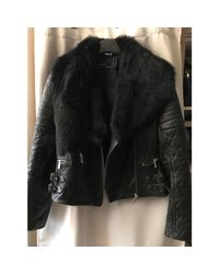 Blouson en cuir cuir noir Karen Millen en coloris Black