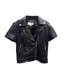 Veste en cuir cuir bleu Michael Kors en coloris Blue