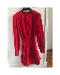 Robe courte velours rouge Maje en coloris Red