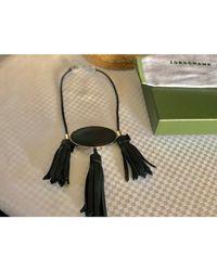 Collier cuir noir Longchamp en coloris Black