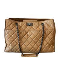 Sac à main en cuir cuir beige Chanel en coloris Natural