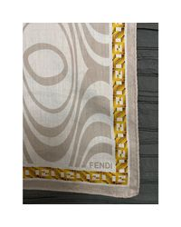 Foulard coton beige Fendi en coloris Natural