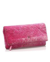 Pochette velour autre Chanel en coloris Pink