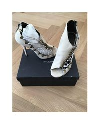 Sandales à talons coton beige Balmain en coloris Natural
