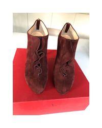 Bottines & low boots à talons daim rouge Valentino en coloris Red