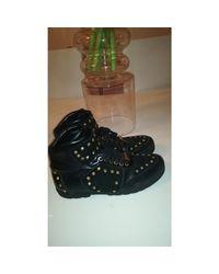Baskets cuir et daim noir Versace pour homme en coloris Black
