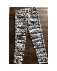 Pantalon slim, cigarette coton blanc Isabel Marant en coloris White
