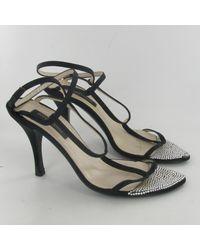 Sandales à talons velours noir Sergio Rossi en coloris Black
