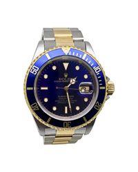 Montre au poignet or jaune SUBMARINER bleu Rolex pour homme en coloris Blue