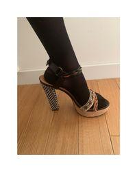 Sandales à talons cuir noir Lanvin en coloris Black