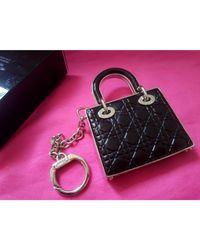 Porte-clés cuir noir Dior en coloris Black