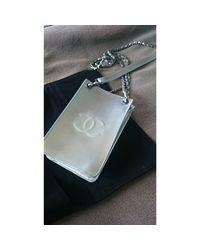 Sac pochette en cuir cuir gris Chanel en coloris Gray