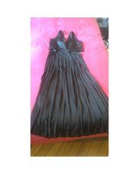 Robe longue polyester noir Sandro en coloris Black