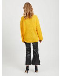 Vila Yellow Rollkragen Woll Strickpullover