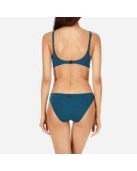 Vilebrequin Blue Women Round Neckline Trikini Swimwear Turtles Scales