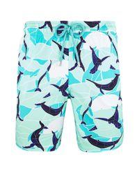 Vilebrequin Blue Men Stretch Swimtrunks Magic Whales for men