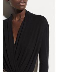 Vince Black Long Sleeve Crossover Bodysuit