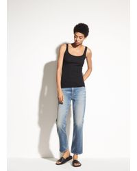Vince - Black Scoop Neck Tank - Lyst