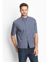 Vince - Blue Narrow Stripe Half Sleeve Button Up for Men - Lyst