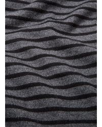Vince - Black Striped Ribbed Merino Wool Scarf for Men - Lyst