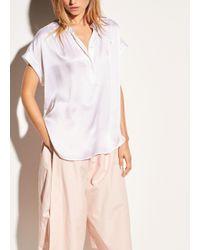 Vince - White Shirred Neck Silk Pullover - Lyst