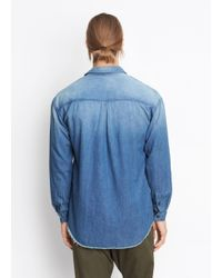 Vince Blue Half Placket Denim Shirt for men